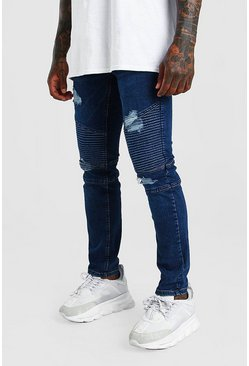 Blue Skinny Fit Biker Jean With Abrasions