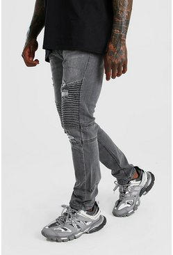 Light grey Skinny Fit Biker Jean With Abrasions