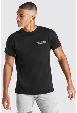 Black Official Chest Print T-Shirt