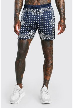 Navy  Co-Ord Satin Drawstring Short In Bandana