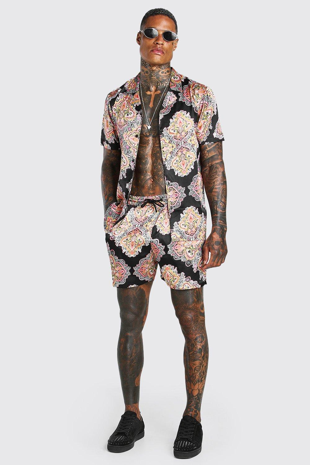mens two-piece satin revere shirt in paisley - multi
