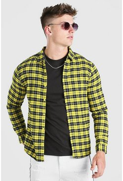 Yellow Regular Fit Flannel Check Shirt