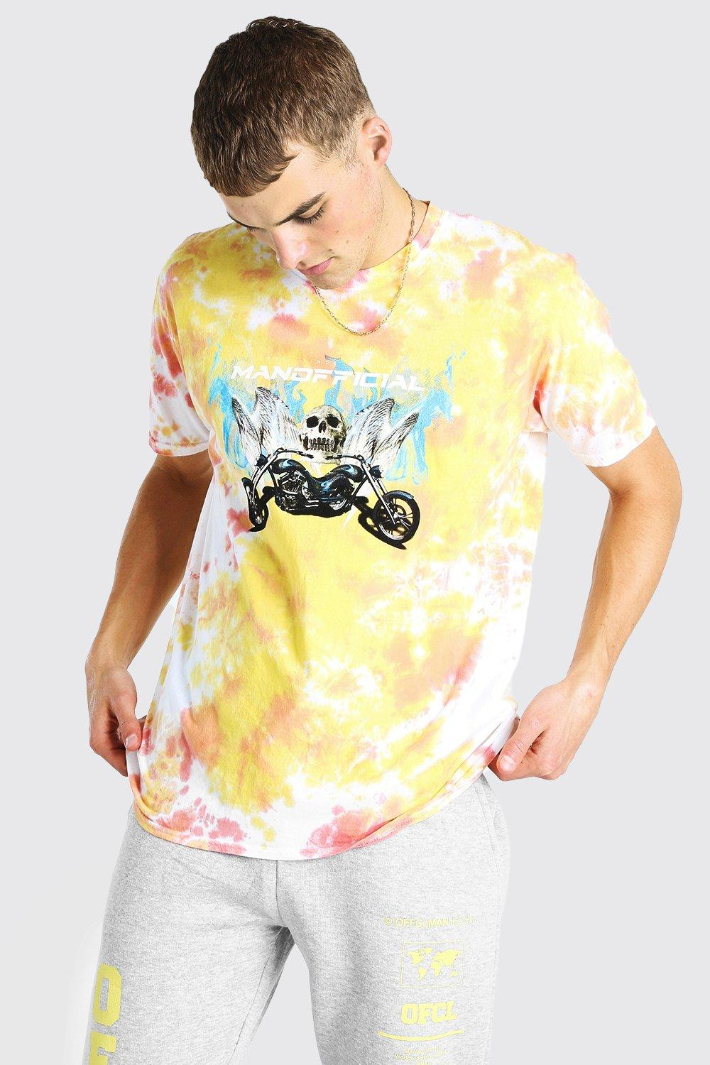mens oversized man official skull tie dye t-shirt - orange