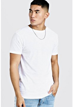 White Basic Crew Neck Slub T-Shirt