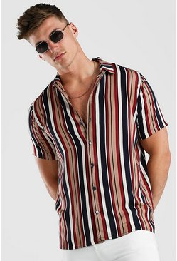 Multi Revere Collar Vintage Stripe Short Sleeve Shirt
