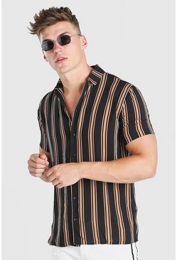 Multi Revere Collar Wide Set Stripe Short Sleeve Shirt