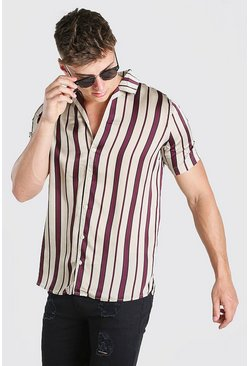 Multi Revere Collar Satin Stripe Short Sleeve Shirt