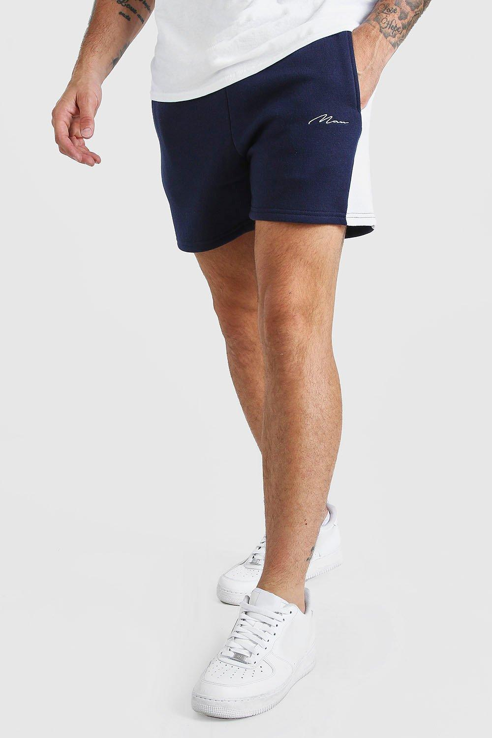 mens man signature jersey short with side panel - navy