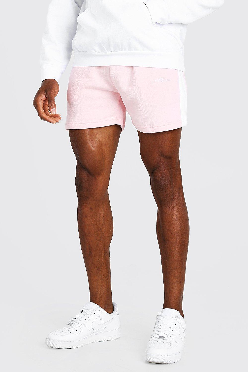 mens man signature jersey short with side panel - pink
