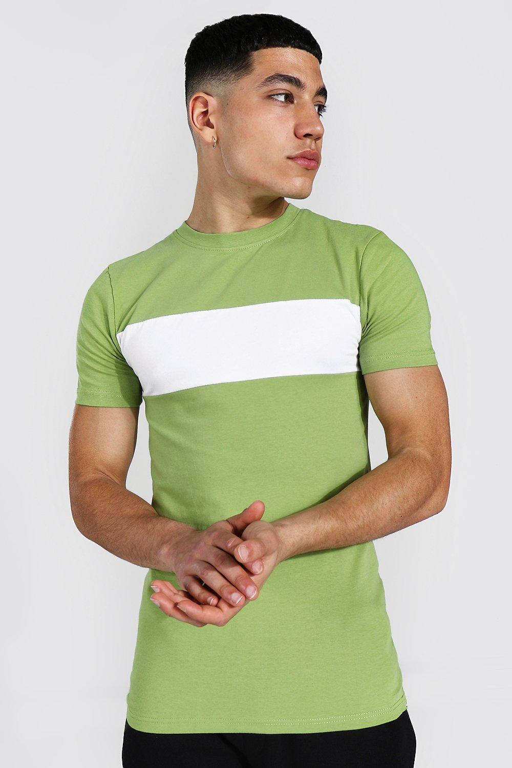 1960s Mens Shirts | 60s Mod Shirts, Hippie Shirts Mens Muscle Fit Longline Colour Block T-shirt - Green $10.80 AT vintagedancer.com