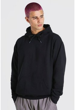 Black Basic Over The Head Fleece Hoodie