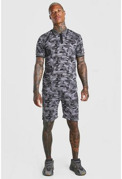 Charcoal Camo Zip Polo & Short Set