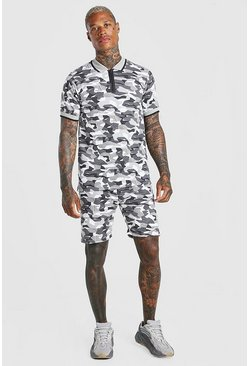 Grey Camo Zip Polo & Short Set
