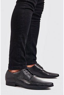Herr Black Faux Leather Derby Shoe