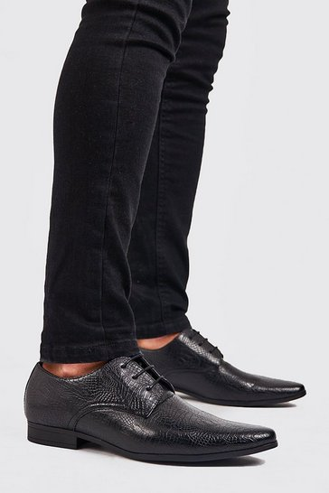 Black Faux Leather Derby Shoe