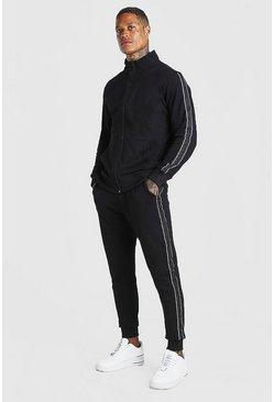 Black Pique Tracksuit With Side Tape