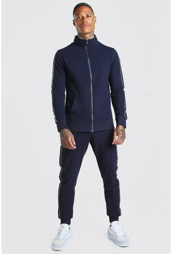 Navy Pique Tracksuit With Side Tape