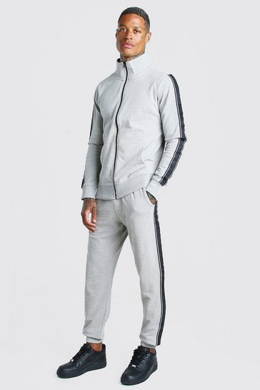 Dark grey Pique Tracksuit With Side Tape