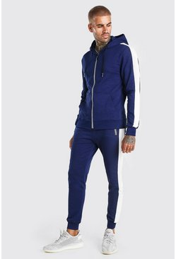 Navy Zip Hooded Tracksuit With Side Panels