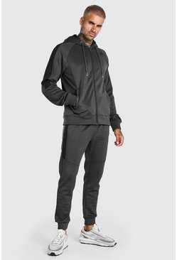Dark grey Zip Hooded Tracksuit With Side Panels