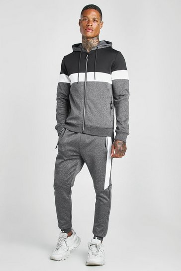Black Poly Zip Hooded Colour Block Tracksuit