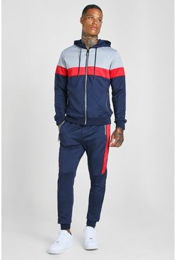 Navy Poly Zip Hooded Colour Block Tracksuit