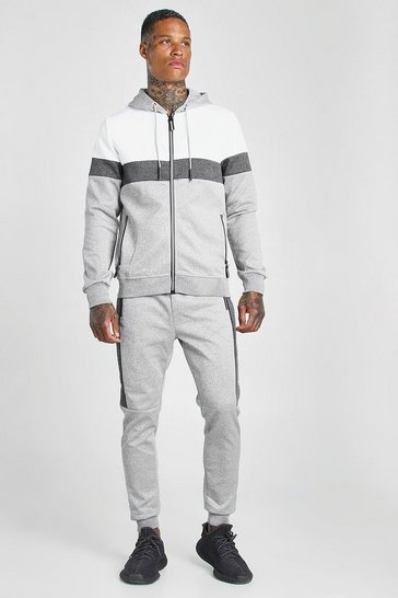 Light grey Poly Zip Hooded Colour Block Tracksuit