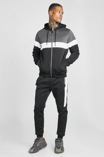 Dark grey Poly Zip Hooded Colour Block Tracksuit