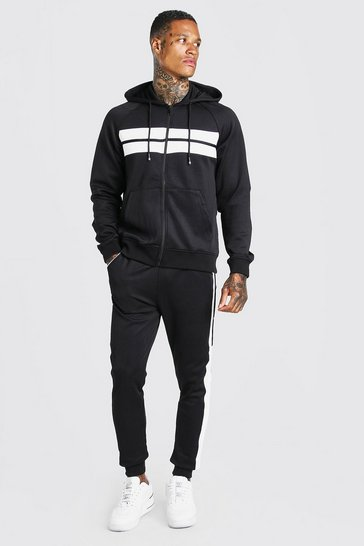 Black Poly Zip Hooded Panelled Tracksuit