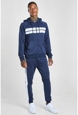 Poly Zip Hooded Panelled Tracksuit, Navy