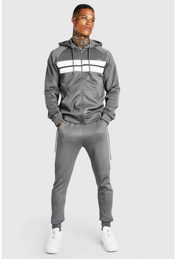 Light grey Poly Zip Hooded Panelled Tracksuit