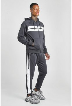 Poly Zip Hooded Panelled Tracksuit, Dark grey