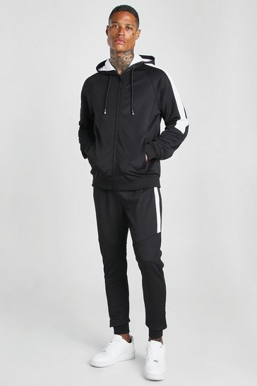 Black Zip Hooded Poly Tracksuit With Panels
