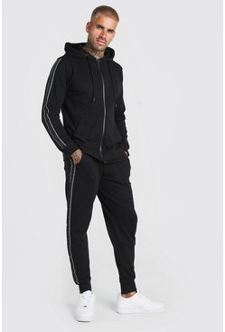 Black Pique Zip Hooded Tracksuit With Piping