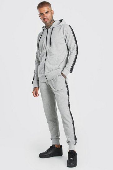 Light grey Pique Zip Hooded Tracksuit With Piping