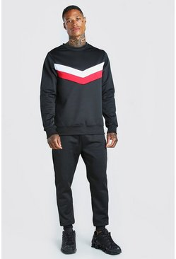 Black Colour Block Poly Sweater Tracksuit