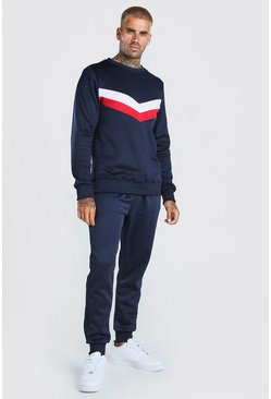 Navy Colour Block Poly Sweater Tracksuit
