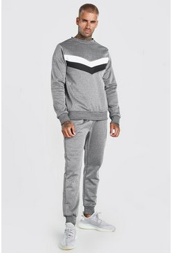 Survêtement sweat en poly colorblock, Gris