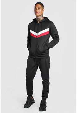 Black Colour Block Poly Zip Hooded Tracksuit