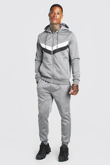 Grey Colour Block Poly Zip Hooded Tracksuit