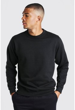 Basic Crew Neck Sweatshirt, Black