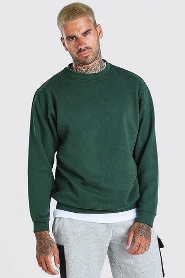 Green Basic Crew Neck Sweatshirt