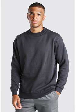 Charcoal Basic Crew Neck Sweatshirt