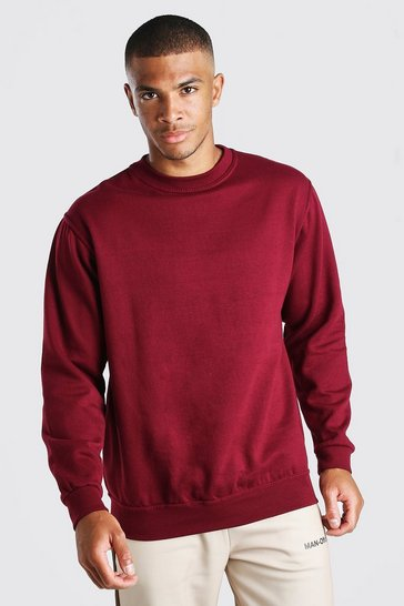 Burgundy Basic Crew Neck Sweatshirt