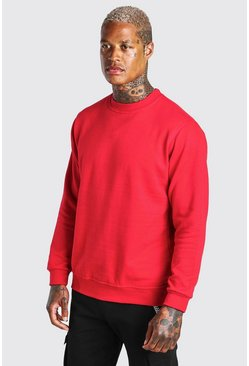 Basic Crew Neck Sweatshirt, Red