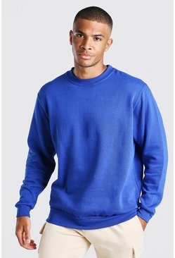 Basic Crew Neck Sweatshirt, Blue
