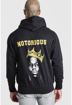 Biggie Crown Back Print License Hoodie, Black
