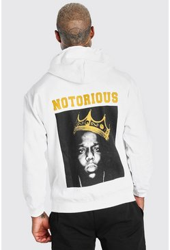 White Biggie Crown Back Print License Hoodie