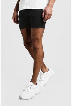 Mens Black MAN Signature Short Length Jersey Shorts