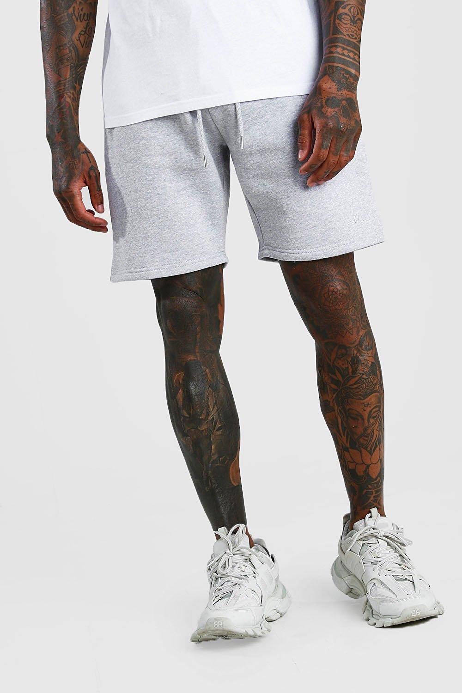 mens man signature mid length jersey shorts - grey